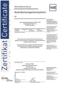 Battery-Kutter - Iso Zertifikat 2014